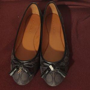 Coach Black & Gray Ballet Flats Size 7